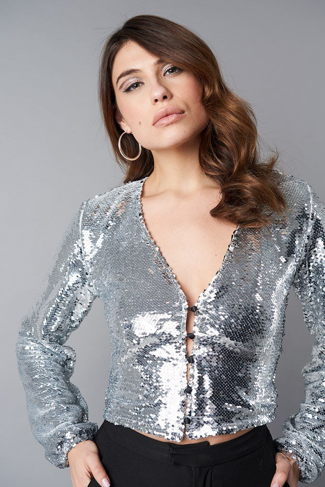 V-Neck Sequins Balloon Sleeve Top Silver