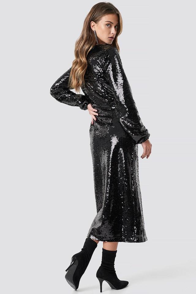 V-Neck Sequins Midi Dress Black