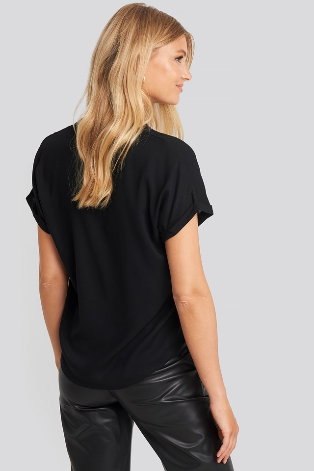 V-Neck Short Sleeve Blouse Black