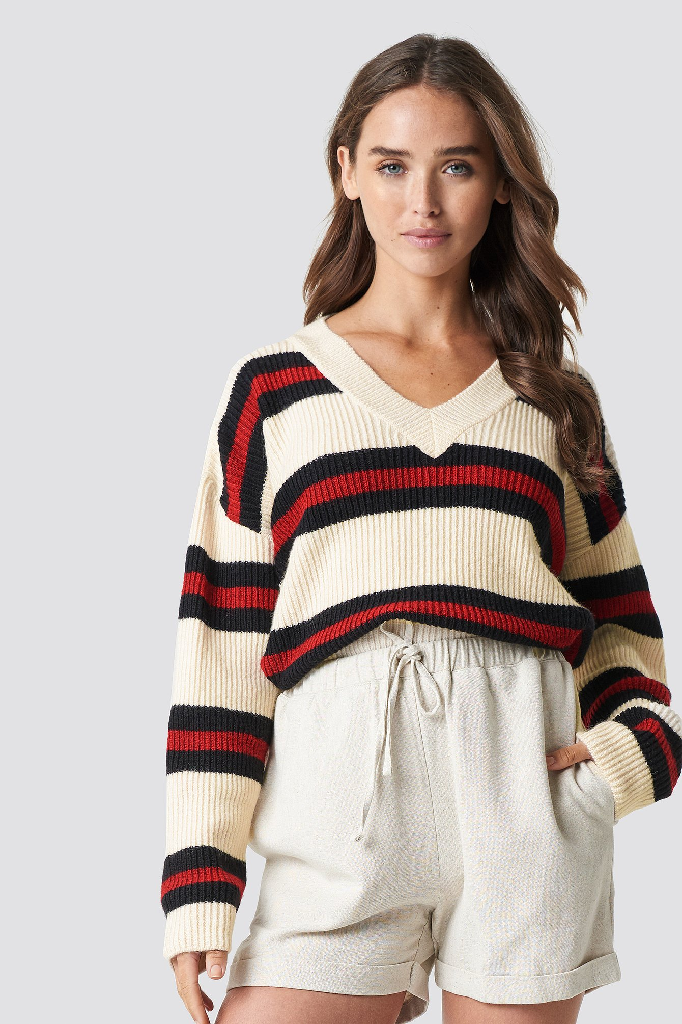 V-NECK STRIPED KNITTED SWEATER - OFFWHITE