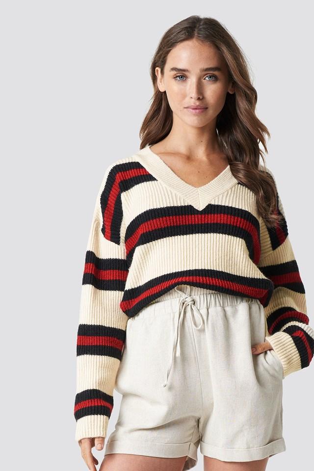 V-neck Striped Knitted Sweater NA-KD