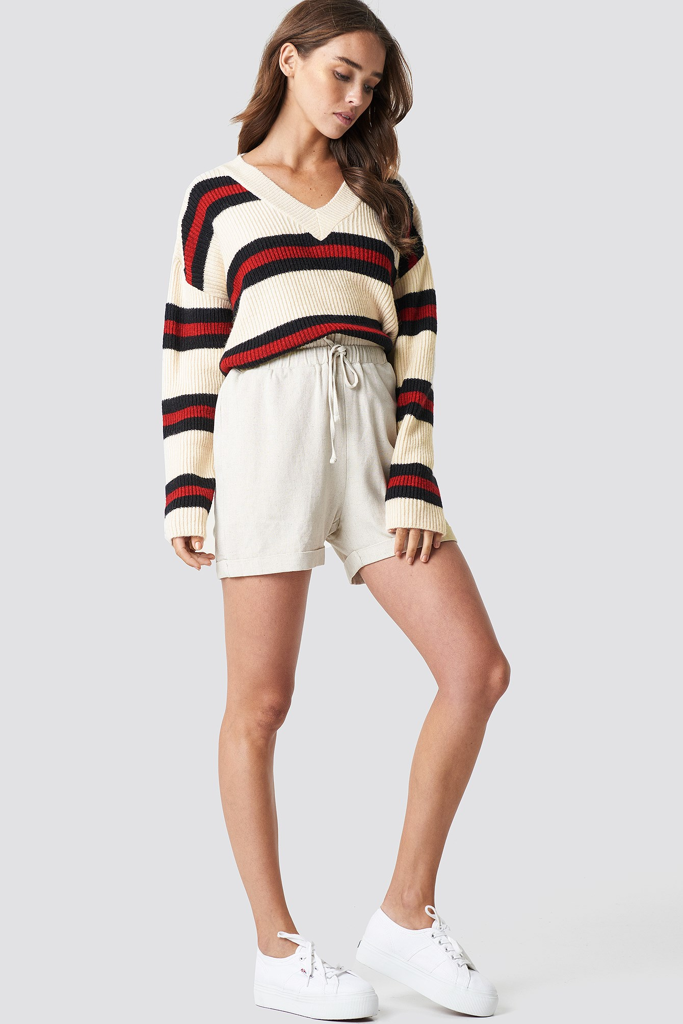 V-neck Striped Knitted Sweater NA-KD.COM