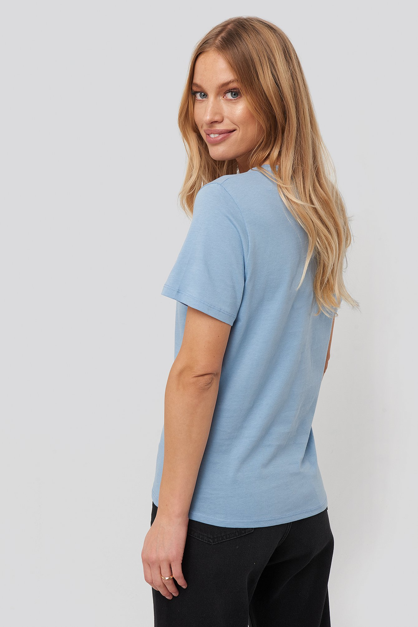 Dusty Light blue V-Neck Tee