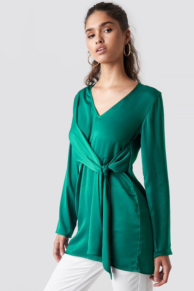 V-Neck Tie Waist Blouse Emerald Green