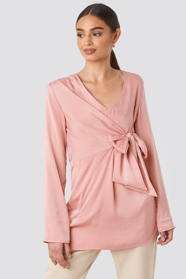 V-Neck Tie Waist Blouse Dusty Pink