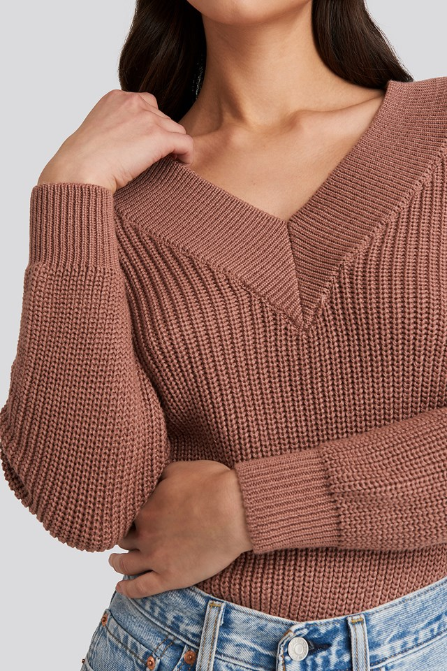V-Neck Wide Rib Knitted Sweater Dusty Dark Pink