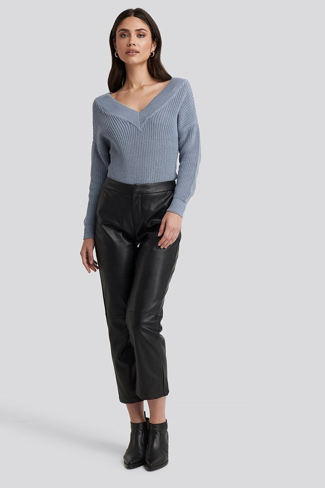 V-Neck Wide Rib Knitted Sweater Stone Blue