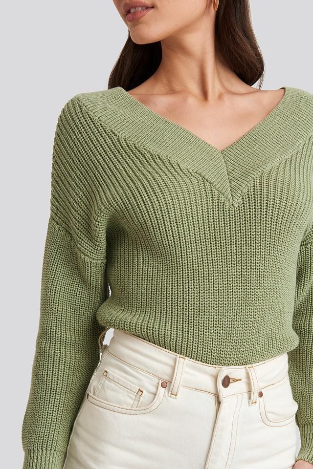V-Neck Wide Rib Knitted Sweater Light Khaki