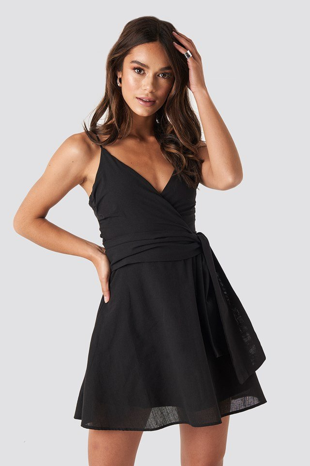 V-neck Wrap Mini Dress Black