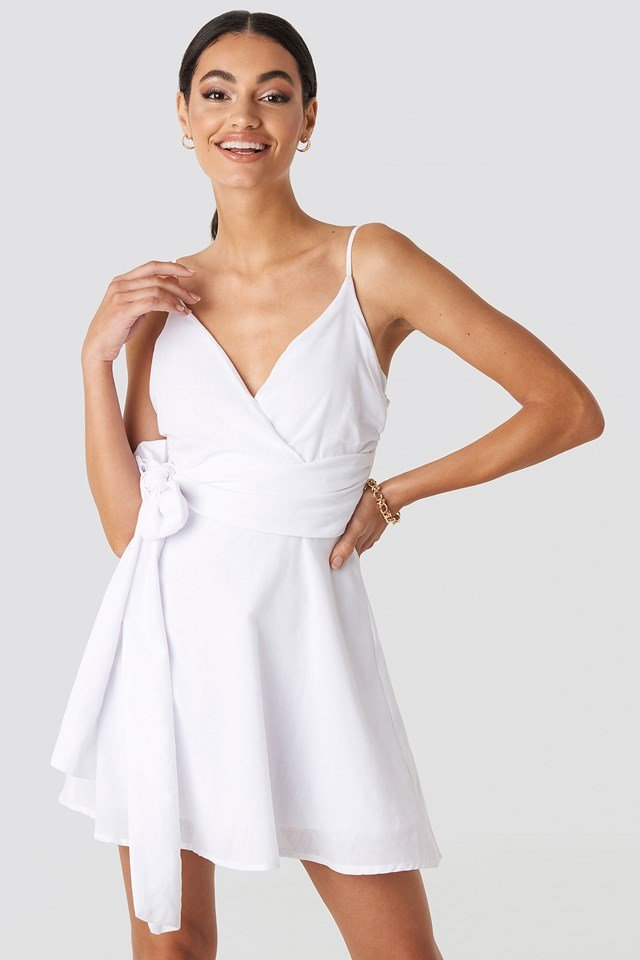 V-neck Wrap Mini Dress White