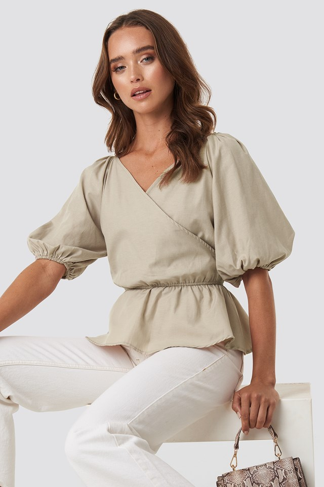 V Neck Wrap Over Elastic Waist Blouse Beige