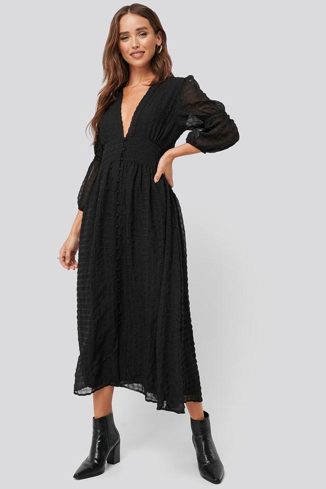 V-Shape Flowy Puff Sleeve Dress Black