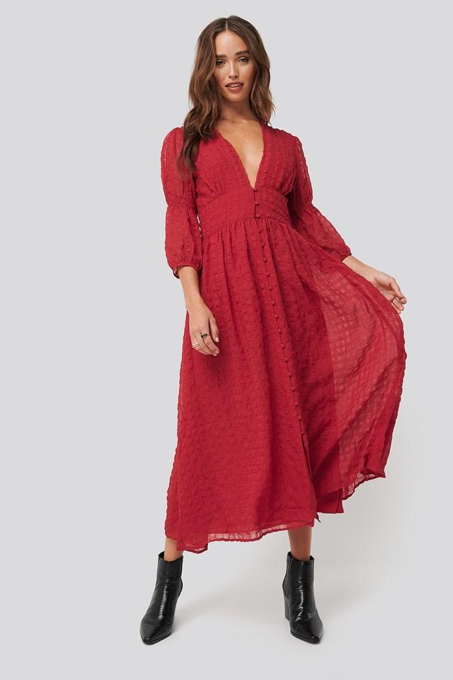 V-Shape Flowy Puff Sleeve Dress Dark Red