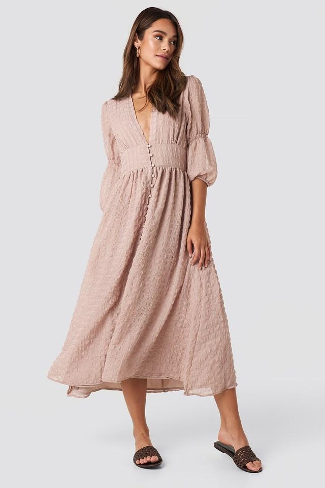V-Shape Flowy Puff Sleeve Dress NA-KD.COM
