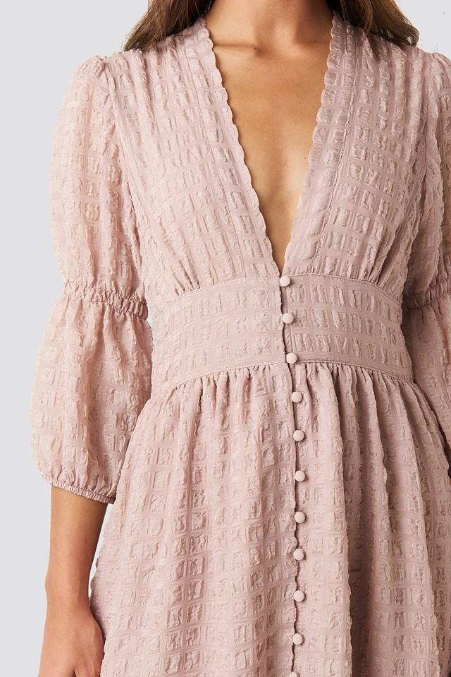 V-Shape Flowy Puff Sleeve Dress Dusty Pink