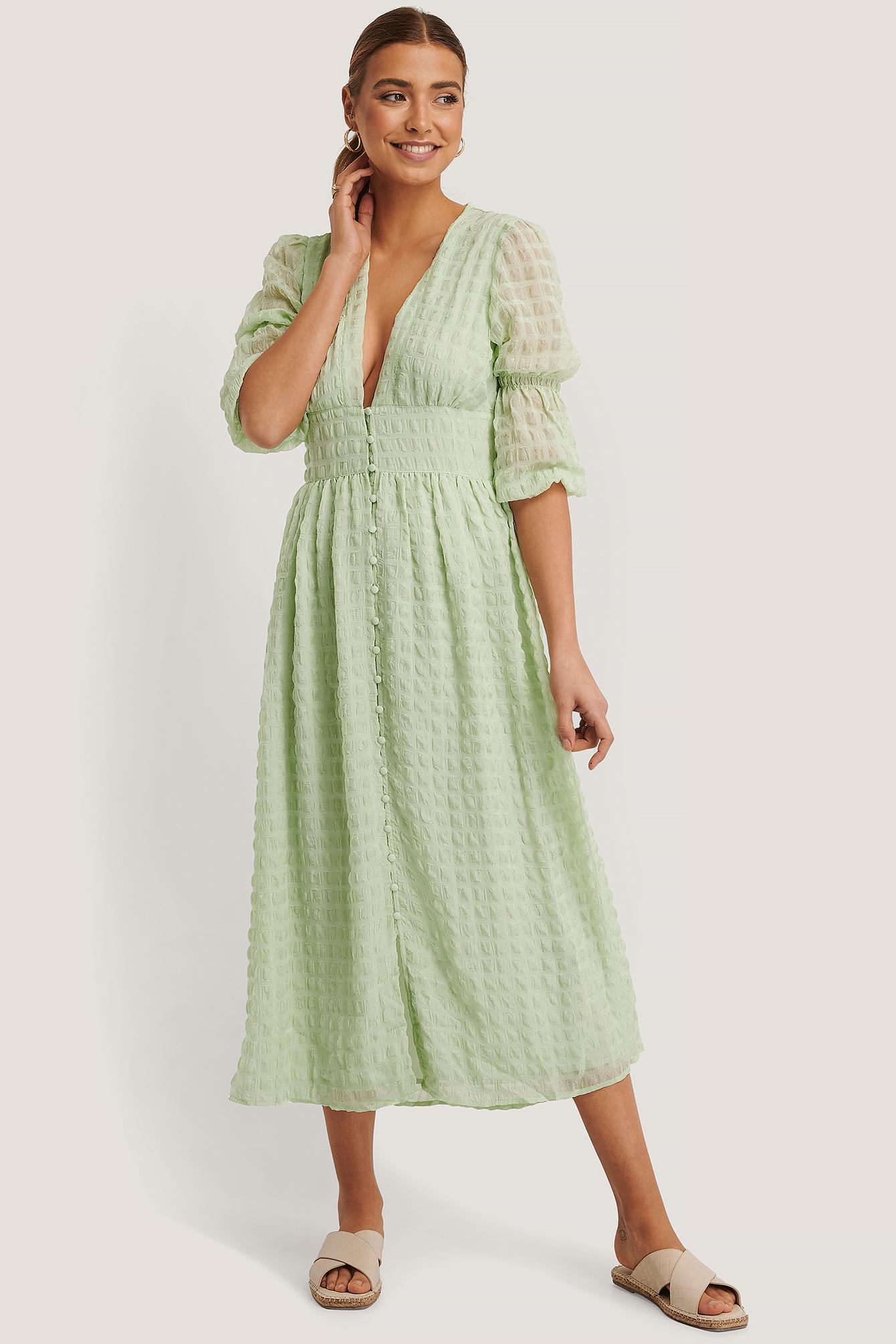 na-kd boho -  V-Förmiges Weites Kleid Mit Puffärmeln - Green