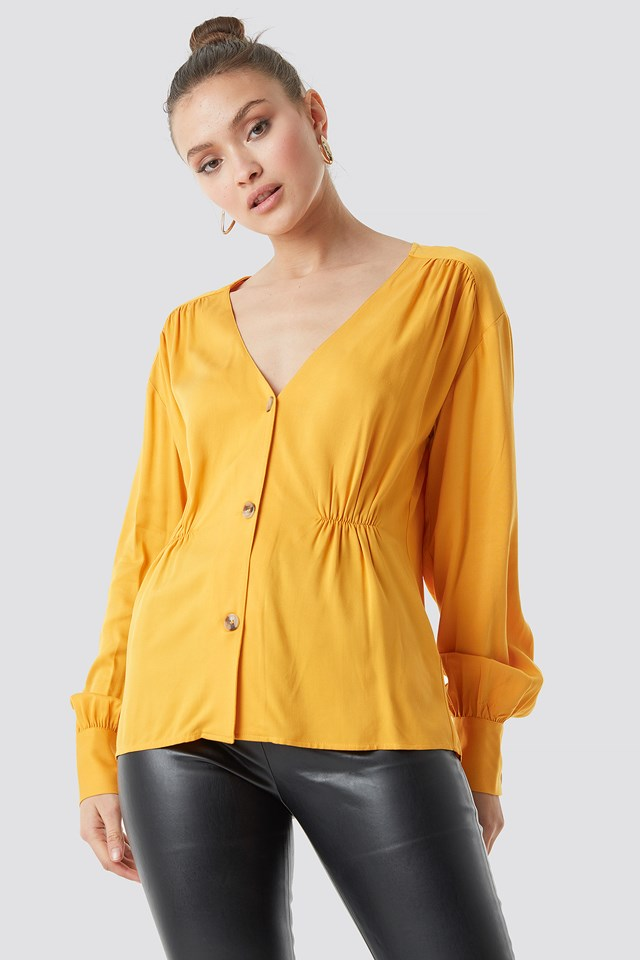V-Cut Button Up Blouse Golden Yellow