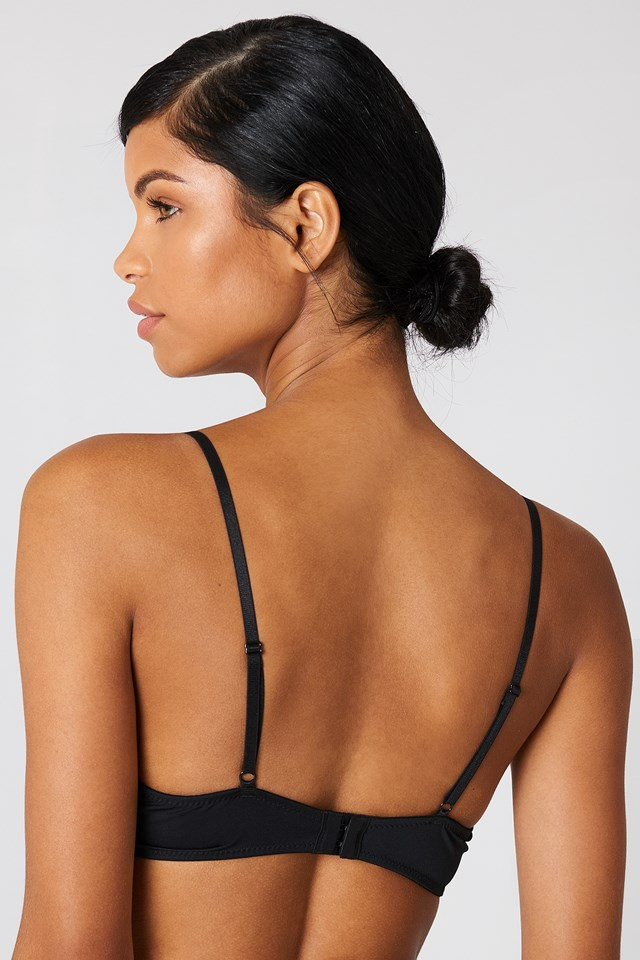 V Cut Lace Bralette Black