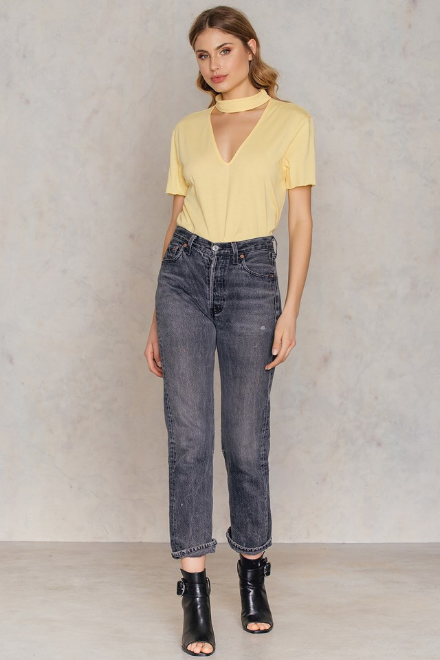 V Cut Out Tee Yellow
