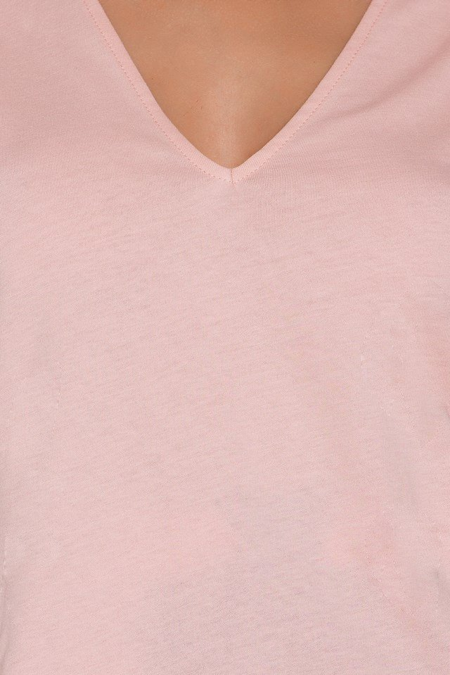 V Cut Out Tee Light Pink