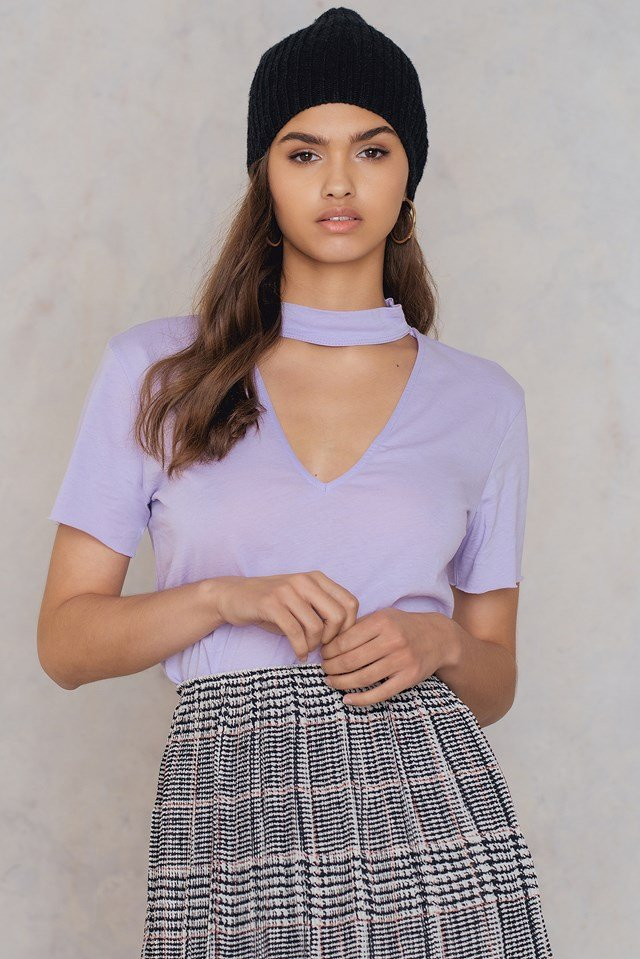 V Cut Out Tee Light Purple