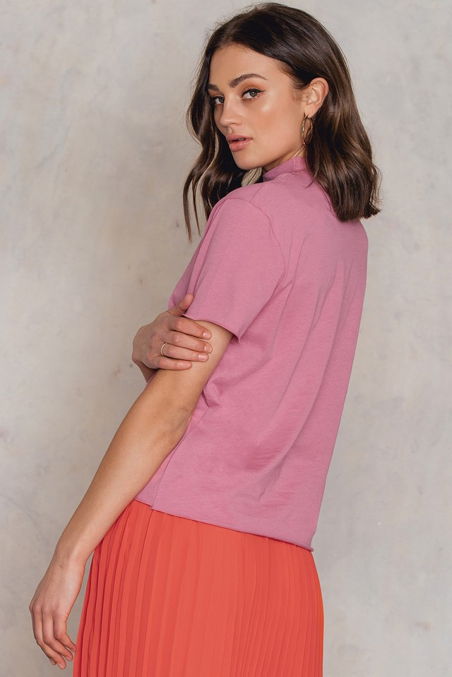 V Cut Out Tee Pink Rose
