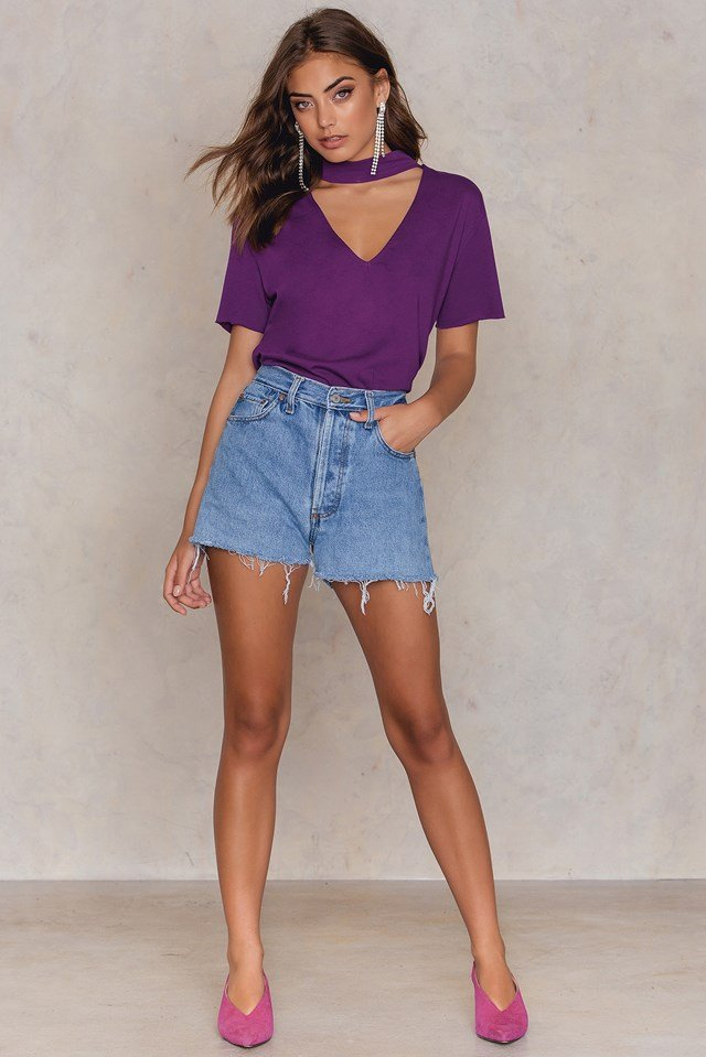 V Cut Out Tee Strong Purple