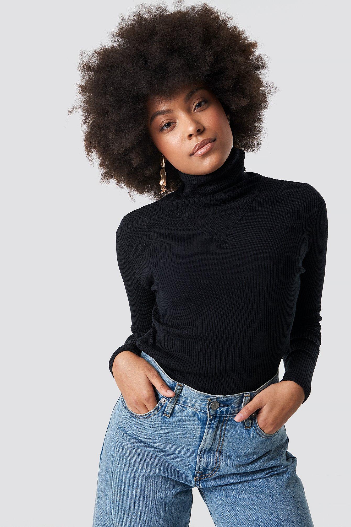 na-kd -  V Detailed High Neck Sweater - Black
