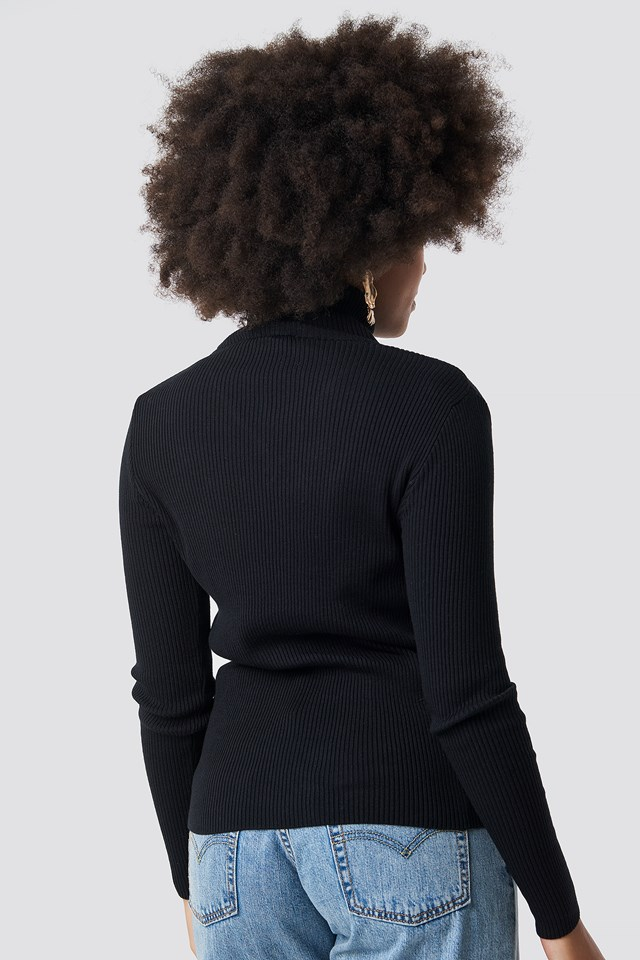 V Detailed High Neck Sweater NA-KD.COM