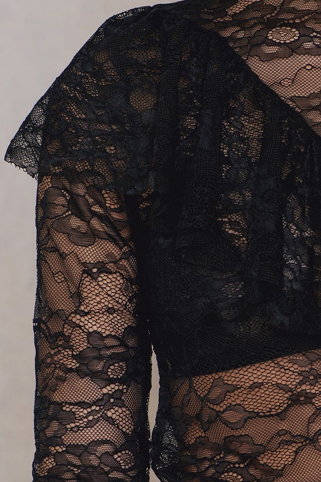 V Frill Lace Top Black