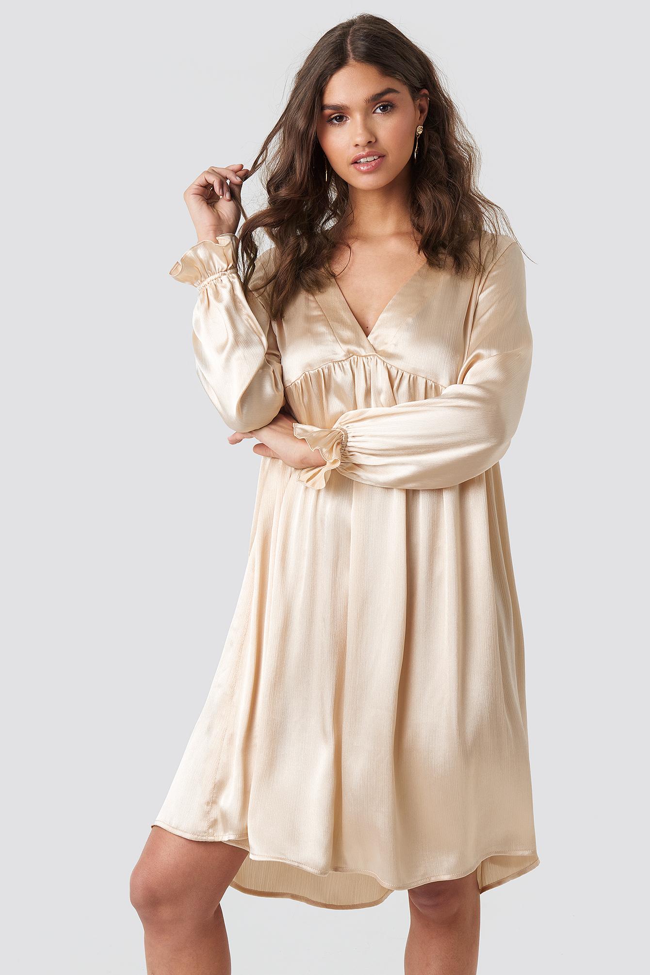 na-kd party -  V Front Frill Sleeve Dress - Beige