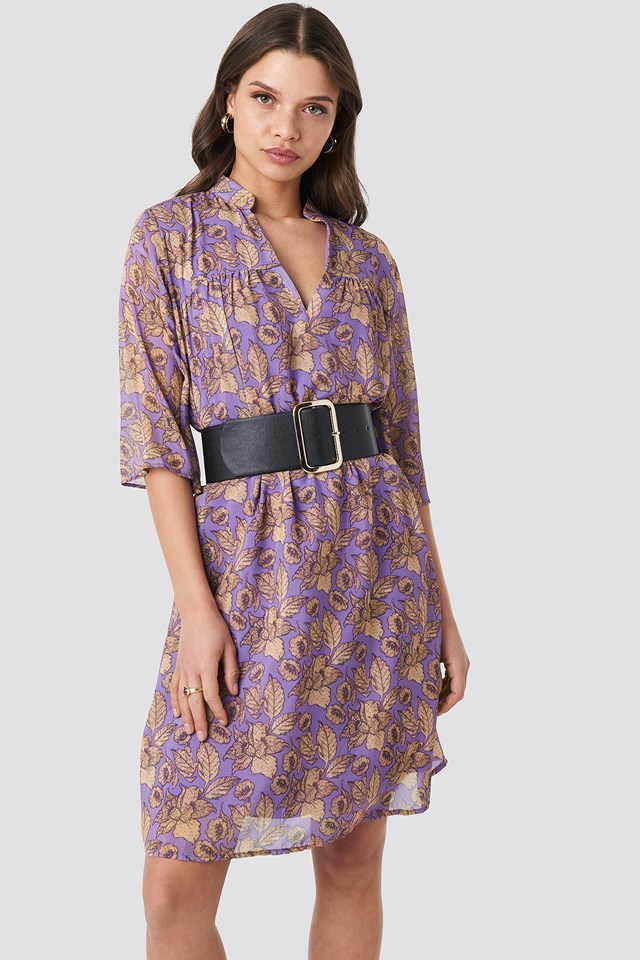 V Front Printed Short Dress Purple