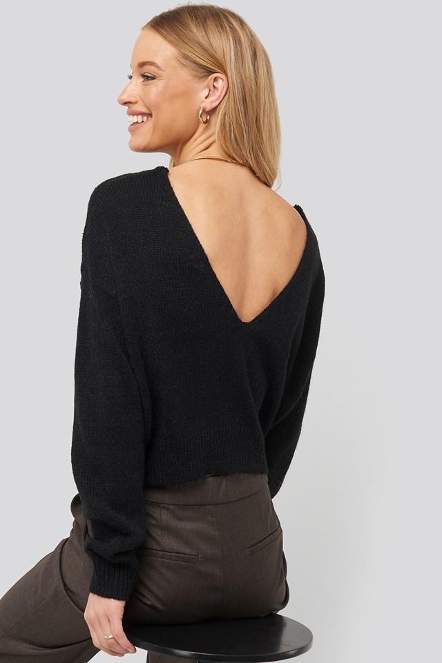 V-neck Back Cropped Knitted Sweater NA-KD