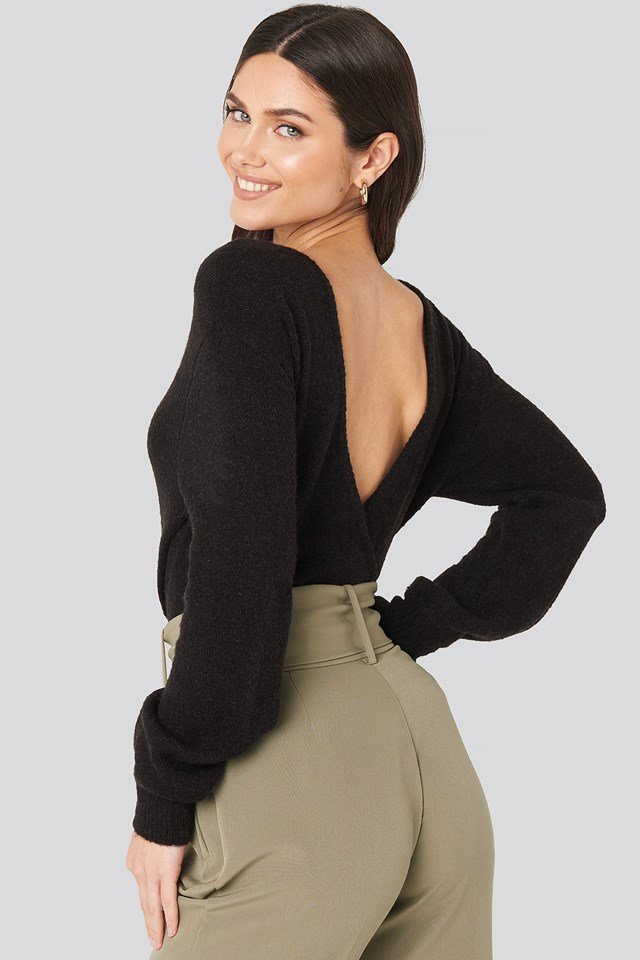 V-Neck Back Overlap Knitted Sweater Black