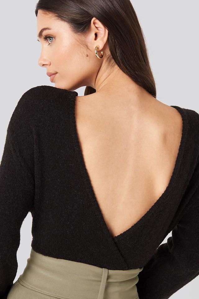 V-Neck Back Overlap Knitted Sweater Black
