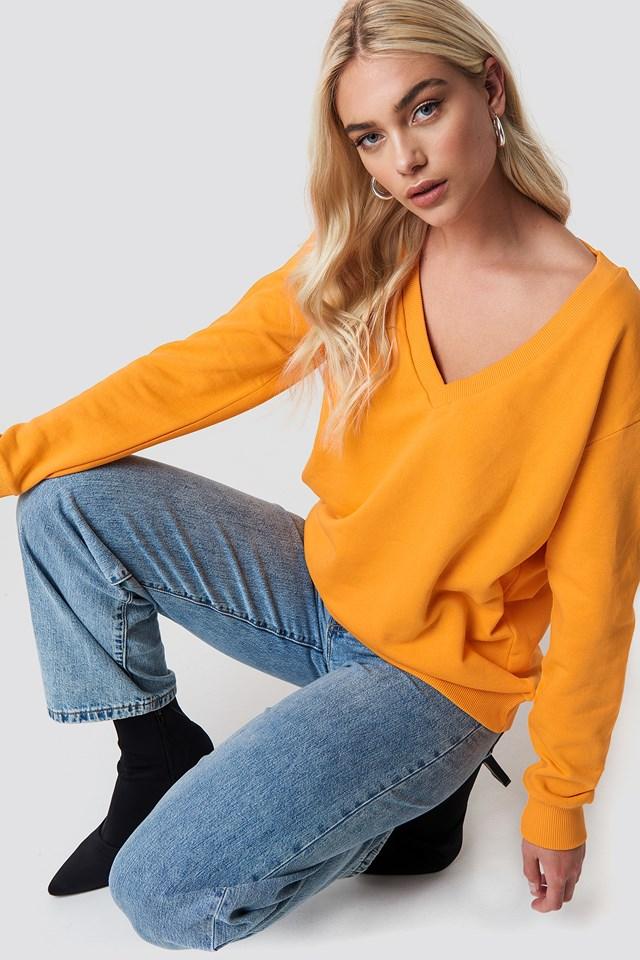 V-neck Basic Sweater Orange
