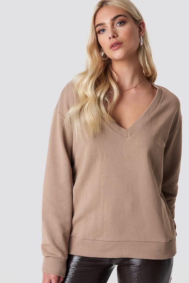 Bluza basic z dekoltem V Mauve
