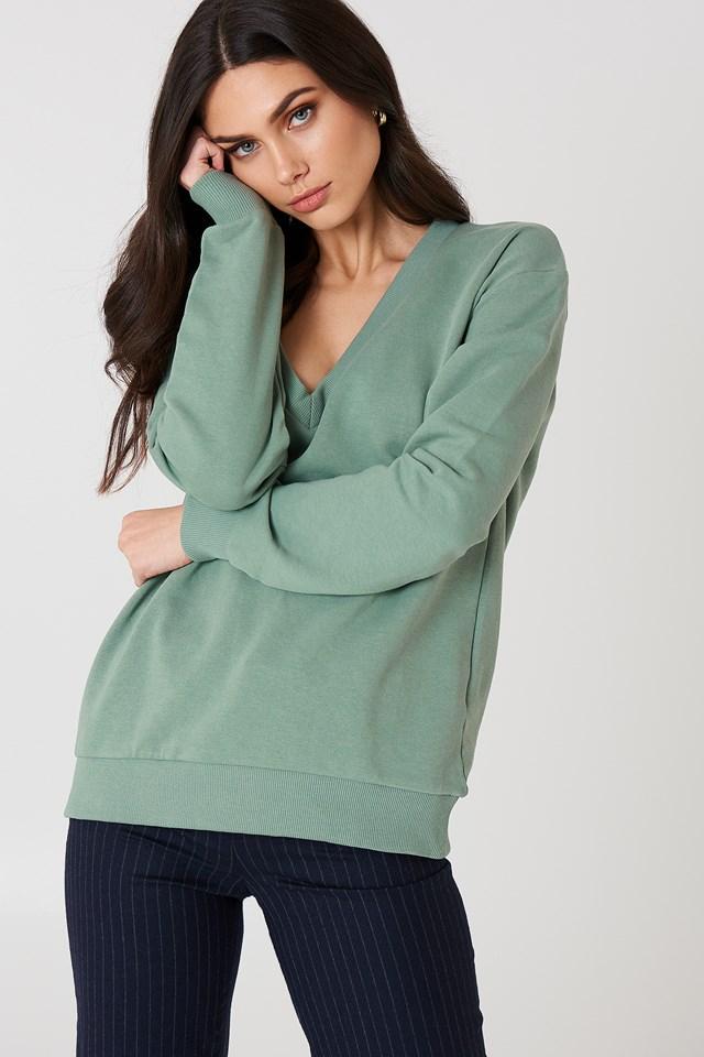 Bluza basic z dekoltem V Duck Green