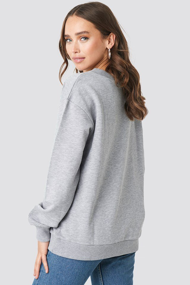 V-neck Basic Sweater Grey Melange