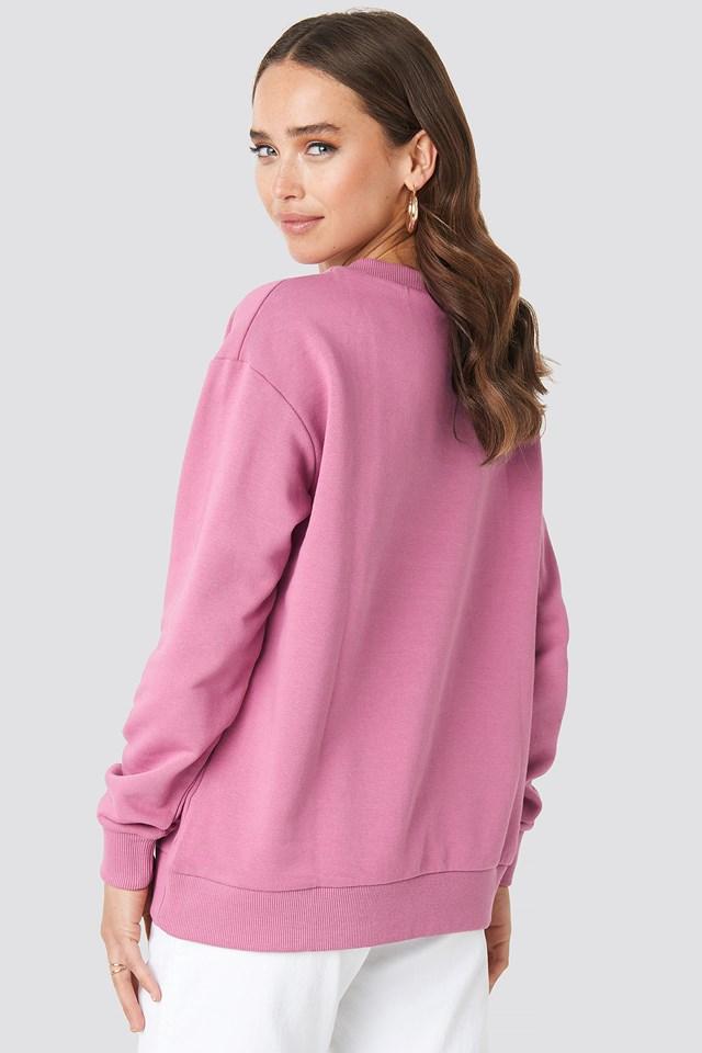 V-neck Basic Sweater Pink Rose