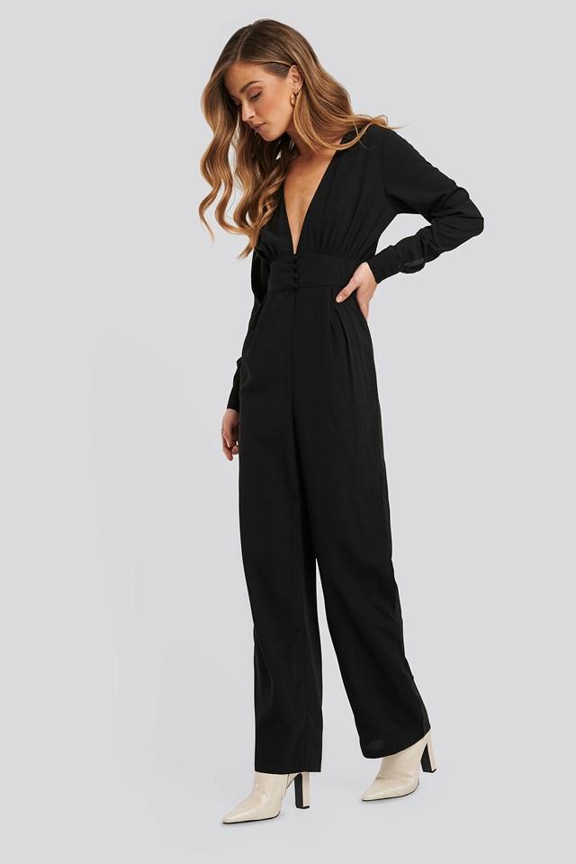 V-Neck Button Detail Jumpsuit Black