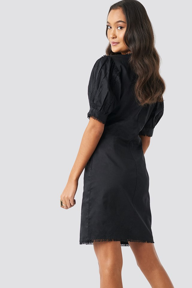 V-Neck Crochet Detail Dress Black