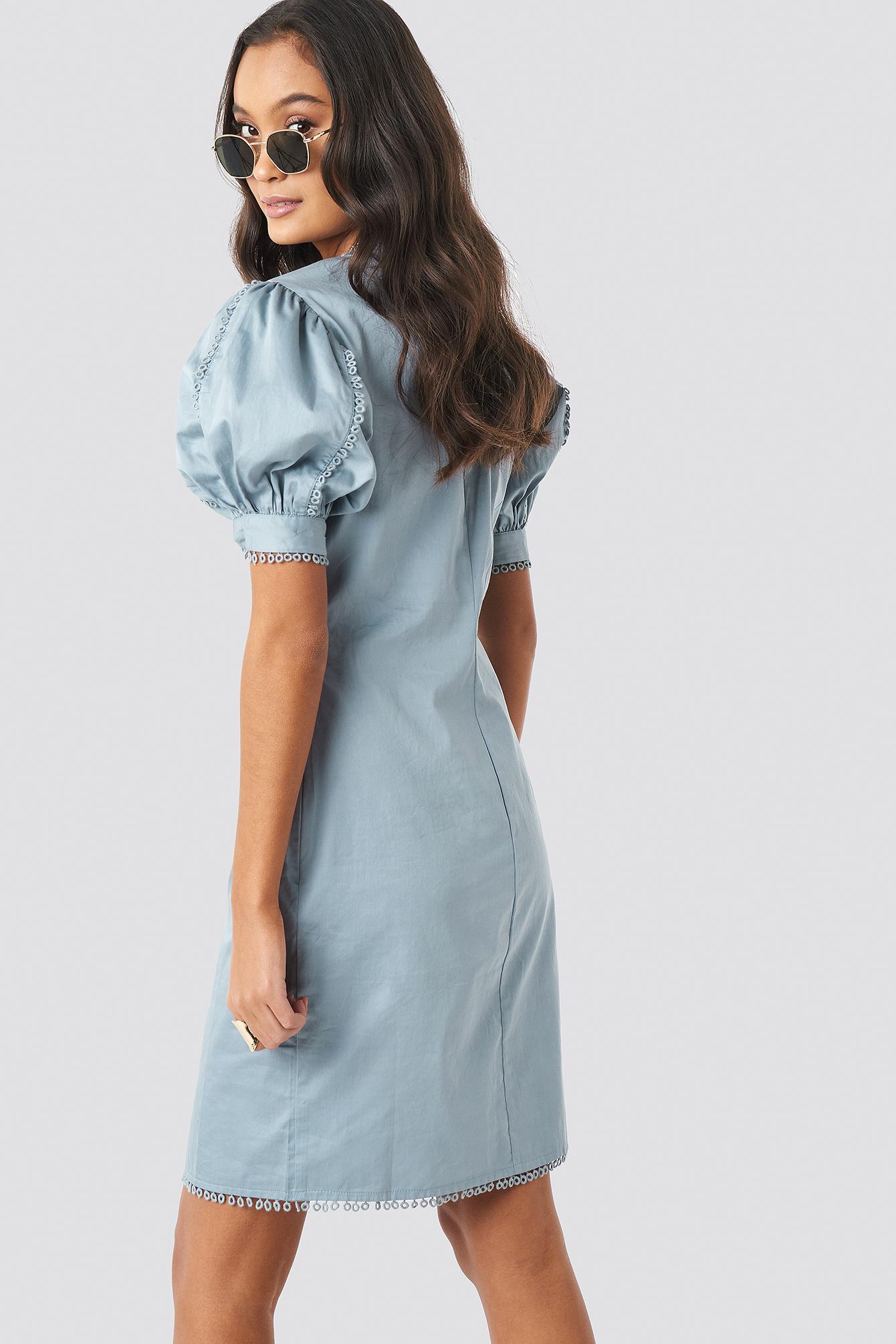 V-Neck Crochet Detail Dress NA-KD.COM