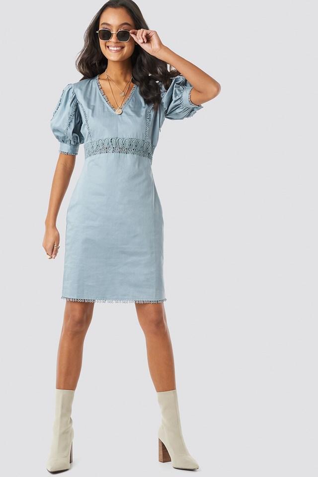 V-Neck Crochet Detail Dress Dusty Blue