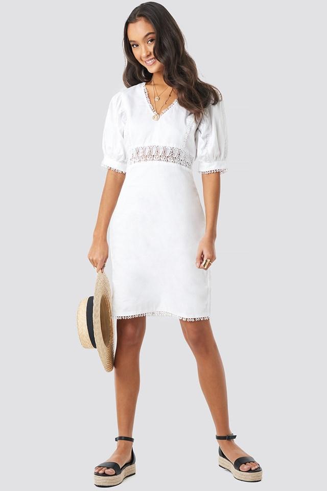 V-Neck Crochet Detail Dress White