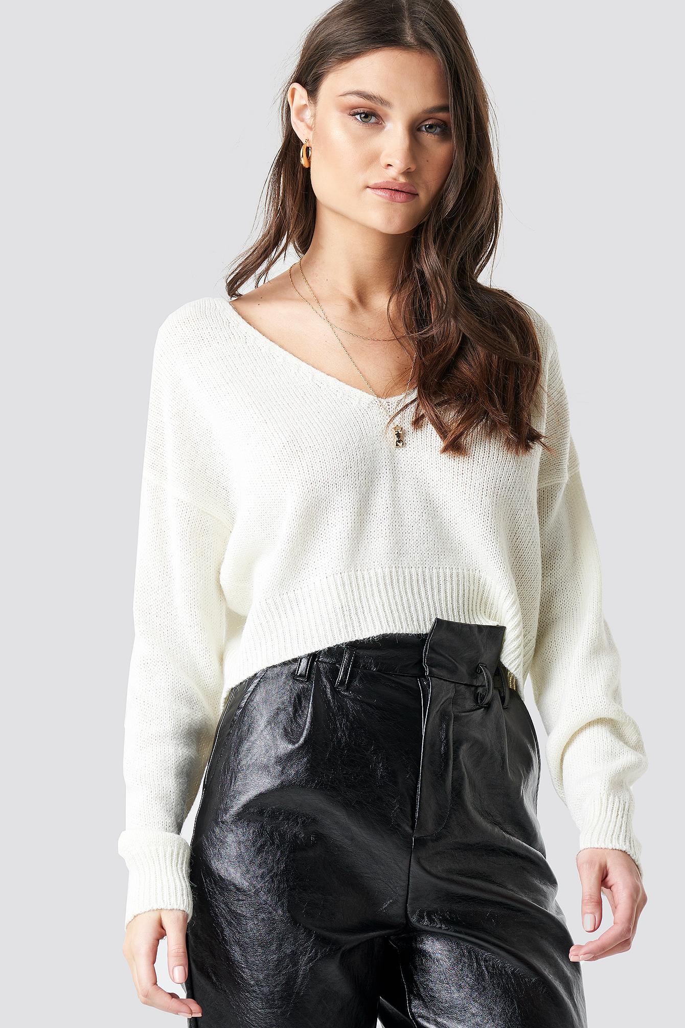 Knitted Deep V-neck Sweater Black   na-kd.com
