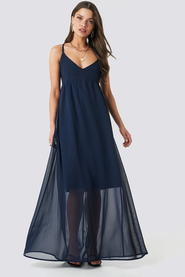 V-Neck Cross Back Maxi Dress Dark Navy