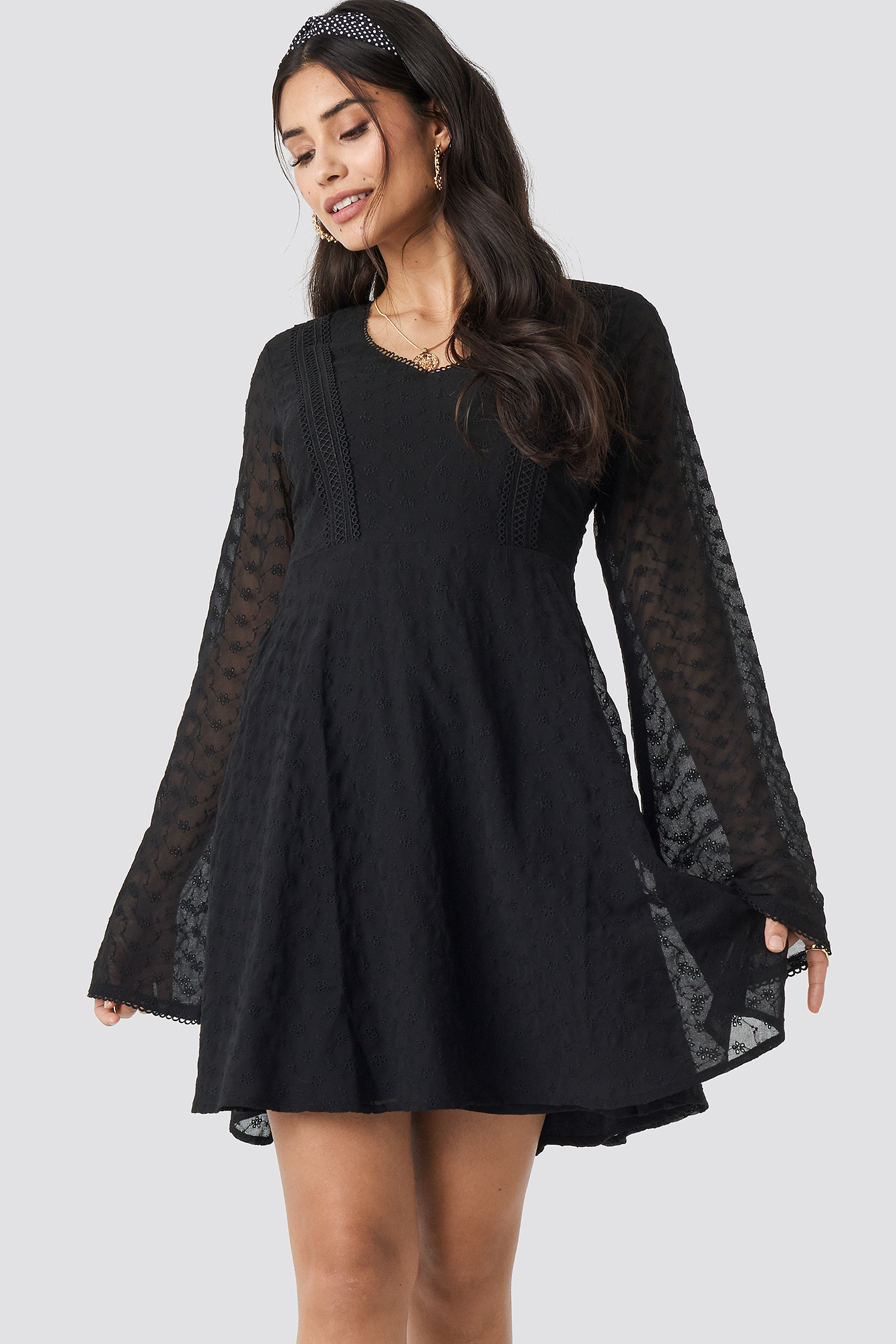 NA-KD | NA-KD Boho V-Neck Delicate Lace Dress - Black | Goxip