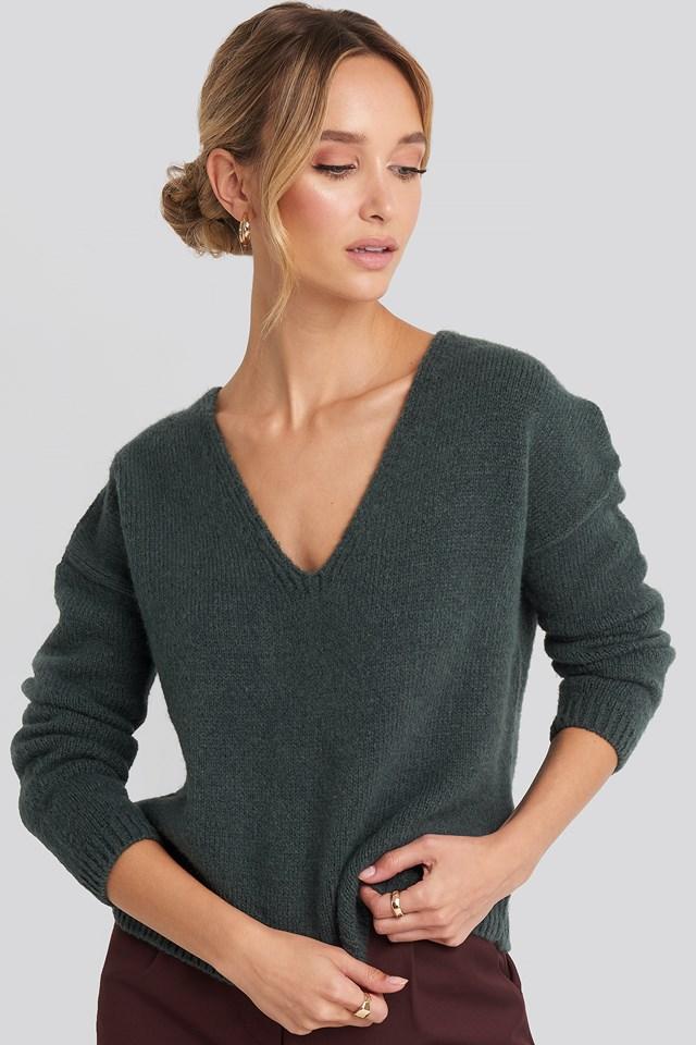 V-Neck Drop Shoulder Sweater Forest Green