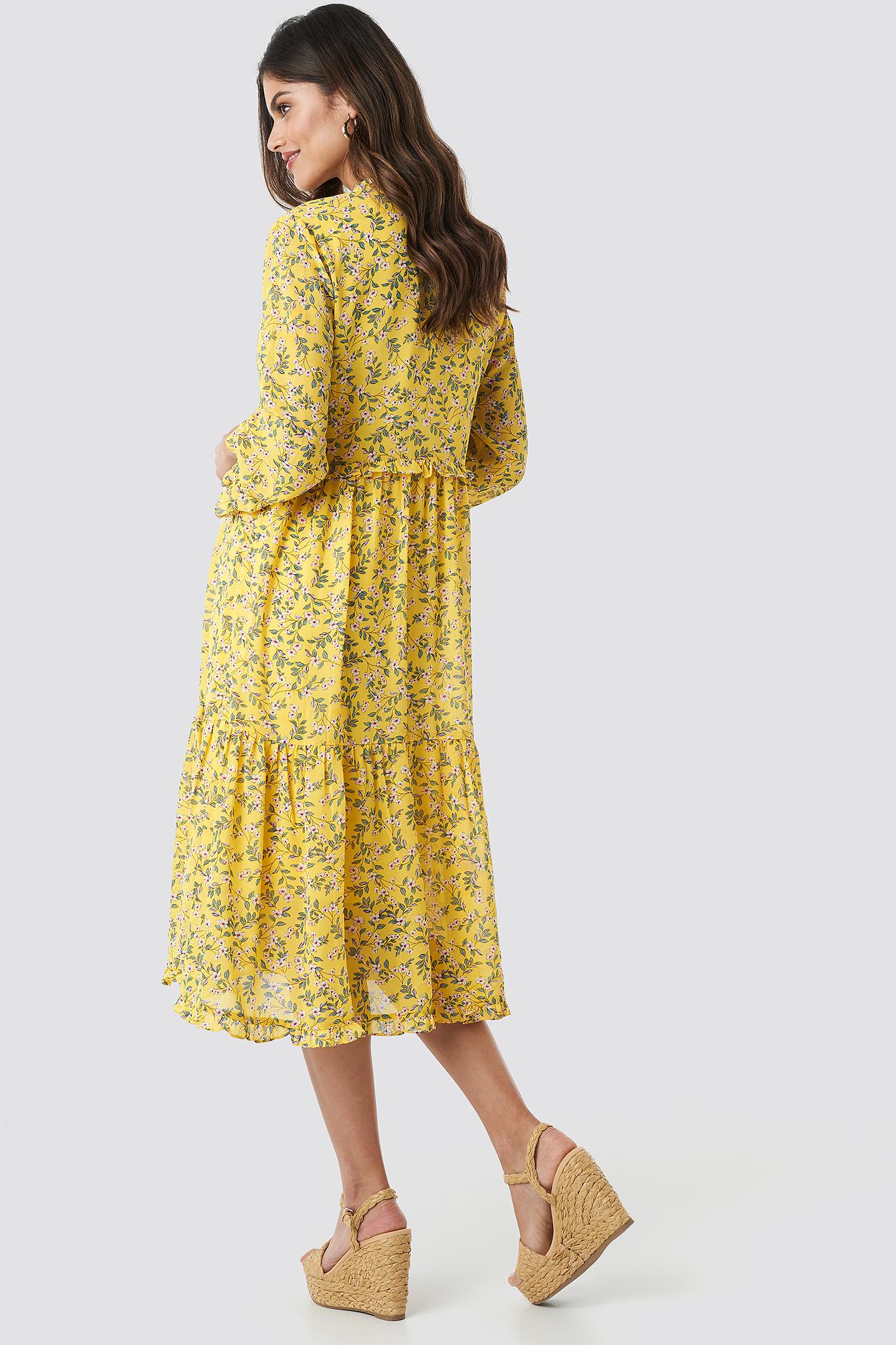 V-Neck Flower Print Chiffon Dress NA-KD.COM
